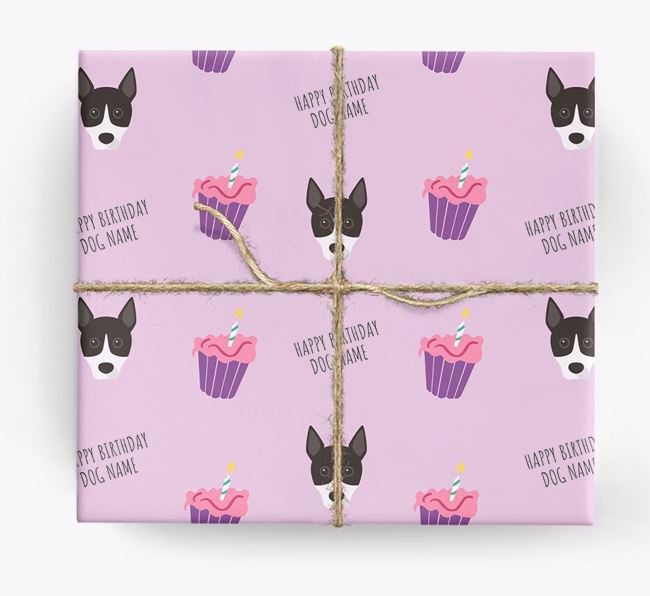 Personalized 'Happy Birthday' Cupcake Wrapping Paper with Basenji Icons