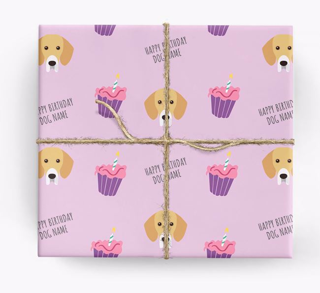 Personalised 'Happy Birthday' Cupcake Wrapping Paper with Bassador Icons