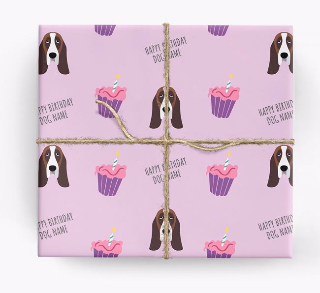 Personalized 'Happy Birthday' Cupcake Wrapping Paper with Basset Hound Icons