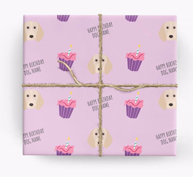 Personalized 'Happy Birthday' Cupcake Wrapping Paper with Beagle Icons