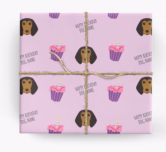 Personalised 'Happy Birthday' Cupcake Wrapping Paper with Beagle Icons