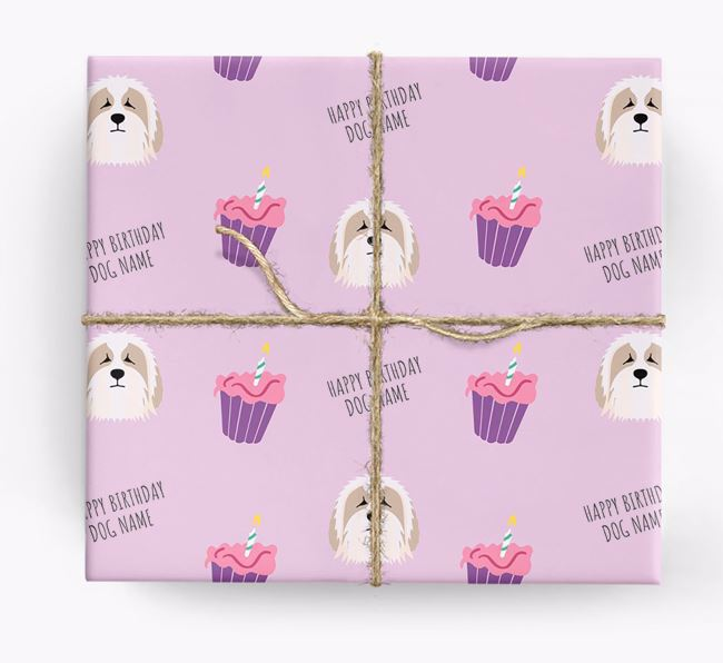 Personalized 'Happy Birthday' Cupcake Wrapping Paper with Bearded Collie Icons