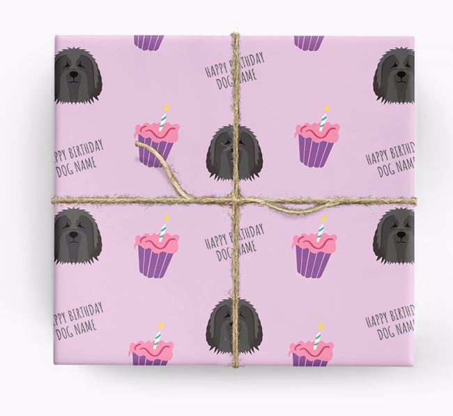 Personalised 'Happy Birthday' Cupcake Wrapping Paper with Bearded Collie Icons