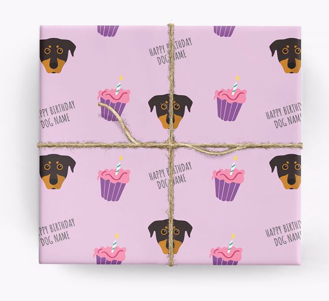 Personalized 'Happy Birthday' Cupcake Wrapping Paper with Beauceron Icons