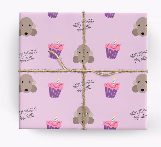Personalised 'Happy Birthday' Cupcake Wrapping Paper with Bedlington Terrier Icons
