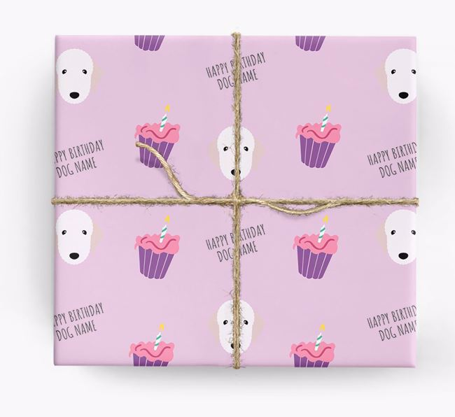 Personalized 'Happy Birthday' Cupcake Wrapping Paper with Bedlington Terrier Icons