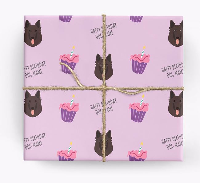 Personalized 'Happy Birthday' Cupcake Wrapping Paper with Belgian Groenendael Icons