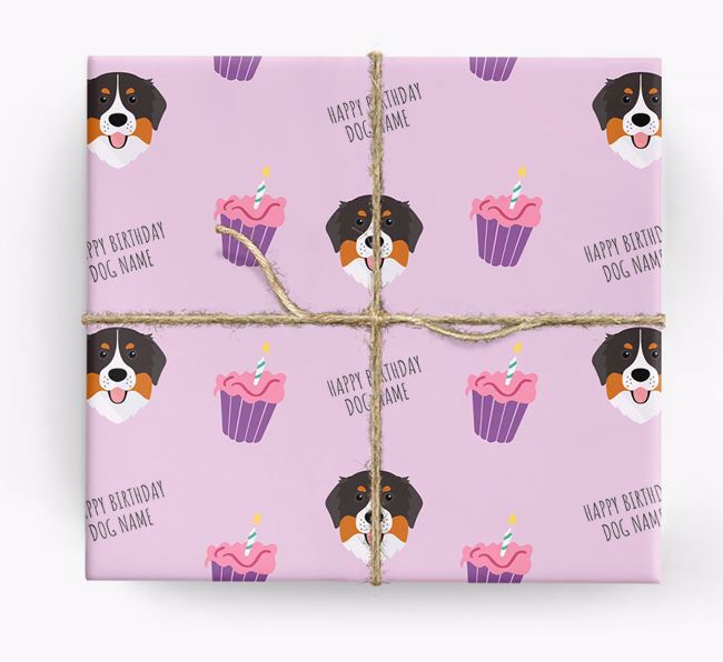 Personalised 'Happy Birthday' Cupcake Wrapping Paper with Bernese Mountain Dog Icons