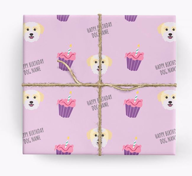 Personalized 'Happy Birthday' Cupcake Wrapping Paper with Bichon Yorkie Icons