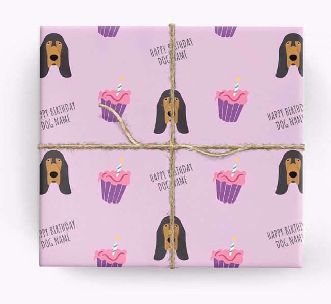 Personalized 'Happy Birthday' Cupcake Wrapping Paper with Bloodhound Icons