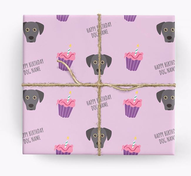 Personalized 'Happy Birthday' Cupcake Wrapping Paper with Blue Lacy Icons