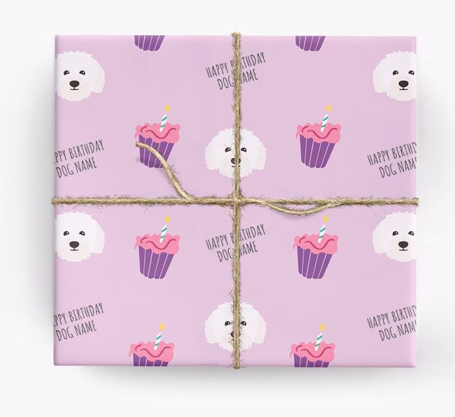 Personalised 'Happy Birthday' Cupcake Wrapping Paper with Bolognese Icons