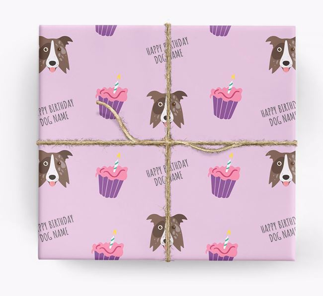 Personalised 'Happy Birthday' Cupcake Wrapping Paper with Border Collie Icons