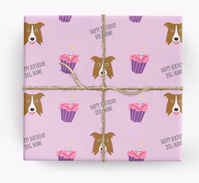 Personalized 'Happy Birthday' Cupcake Wrapping Paper with Border Collie Icons