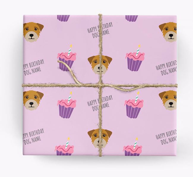 Personalized 'Happy Birthday' Cupcake Wrapping Paper with Border Terrier Icons