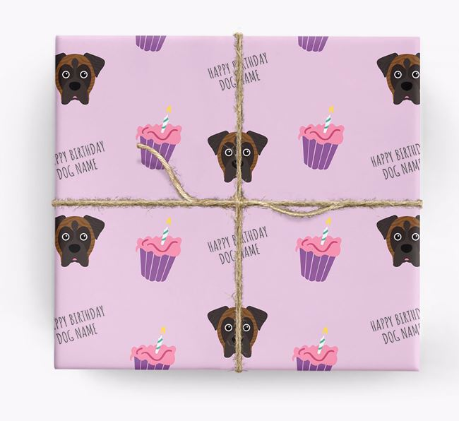 Personalized 'Happy Birthday' Cupcake Wrapping Paper with Boxer Icons