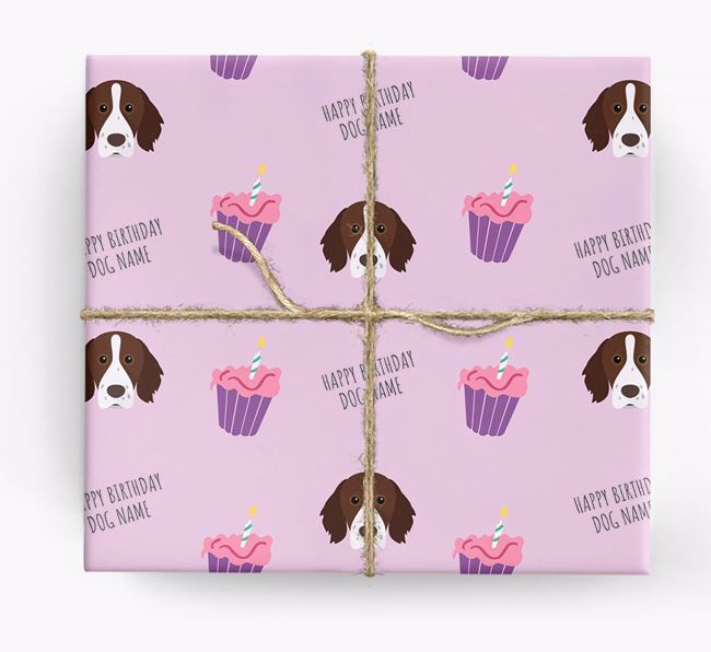 Personalised 'Happy Birthday' Cupcake Wrapping Paper with Brittany Icons
