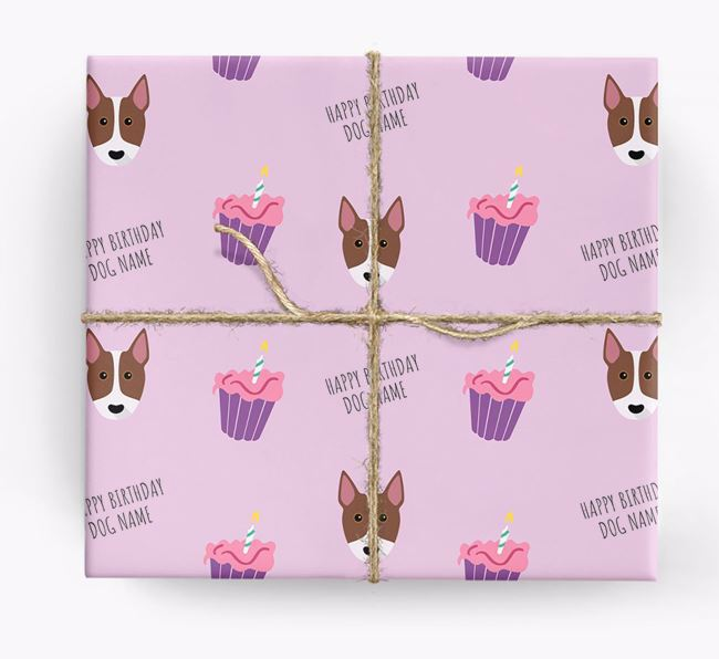 Personalized 'Happy Birthday' Cupcake Wrapping Paper with Bull Terrier Icons