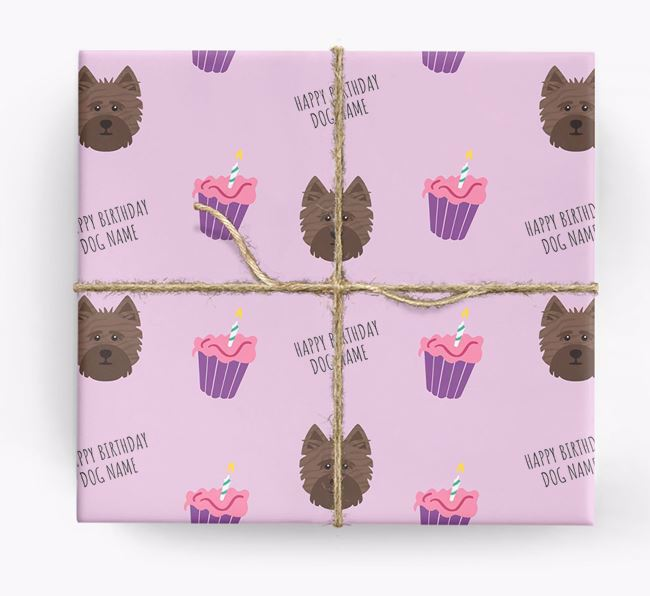 Personalized 'Happy Birthday' Cupcake Wrapping Paper with Cairn Terrier Icons