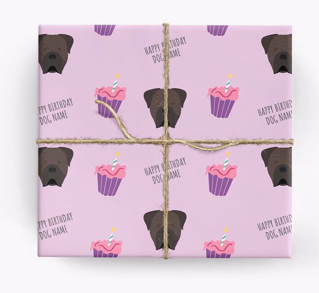 Personalized 'Happy Birthday' Cupcake Wrapping Paper with Cane Corso Italiano Icons