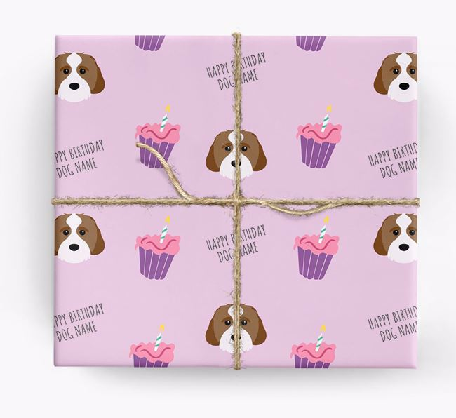 Personalised 'Happy Birthday' Cupcake Wrapping Paper with Cavachon Icons