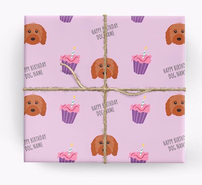 Personalized 'Happy Birthday' Cupcake Wrapping Paper with Cavapoo Icons