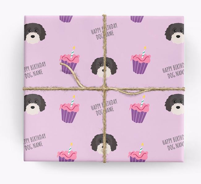Personalized 'Happy Birthday' Cupcake Wrapping Paper with Cavapoochon Icons