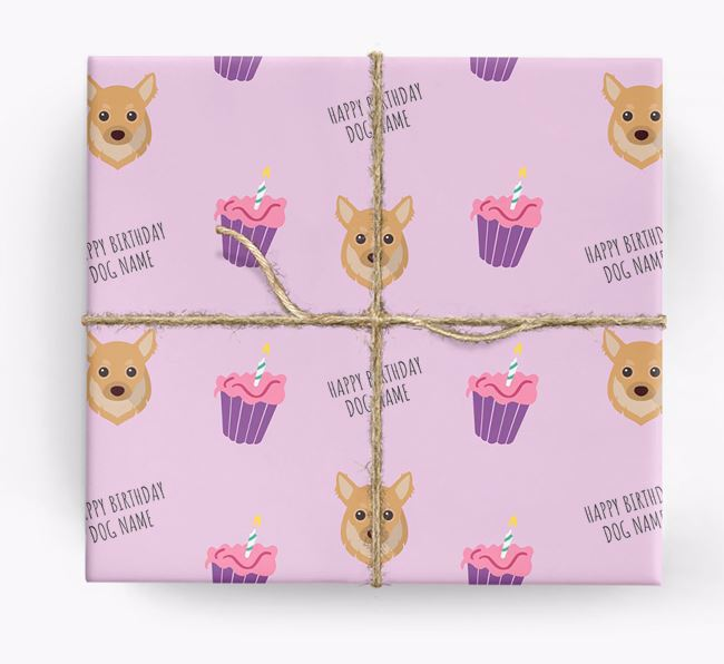 Personalized 'Happy Birthday' Cupcake Wrapping Paper with Chihuahua Icons