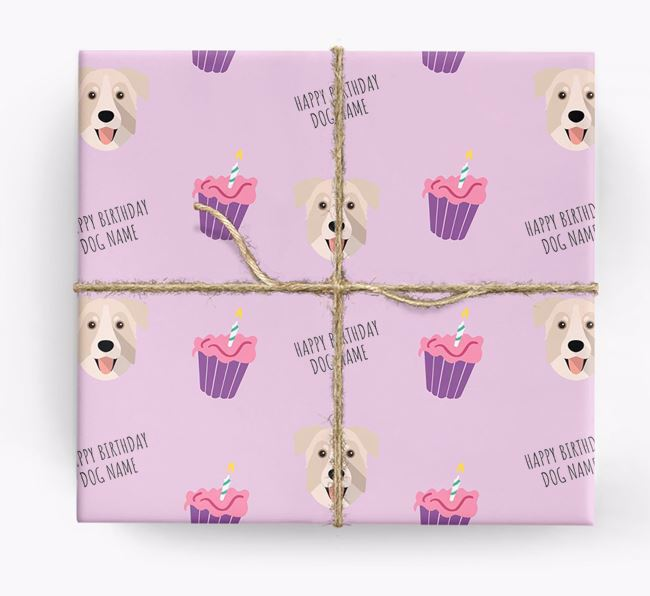 Personalized 'Happy Birthday' Cupcake Wrapping Paper with Chinook Icons