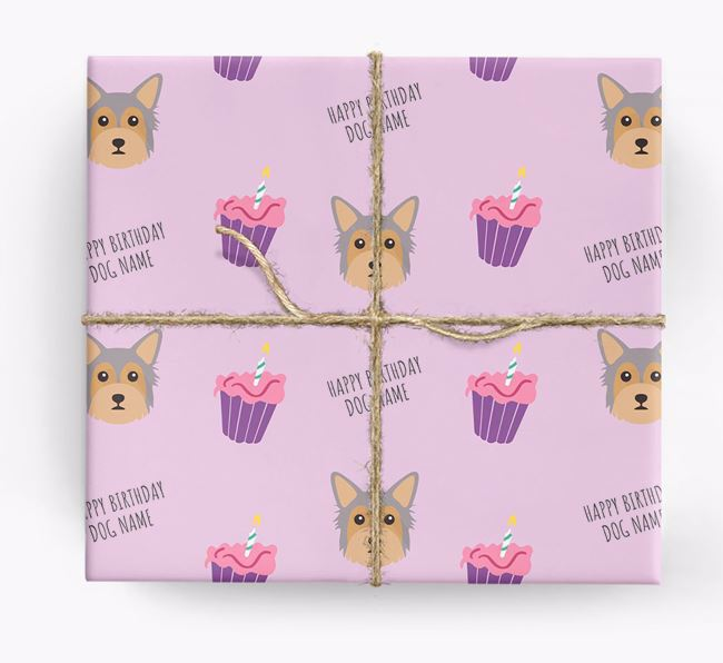 Personalized 'Happy Birthday' Cupcake Wrapping Paper with Chorkie Icons