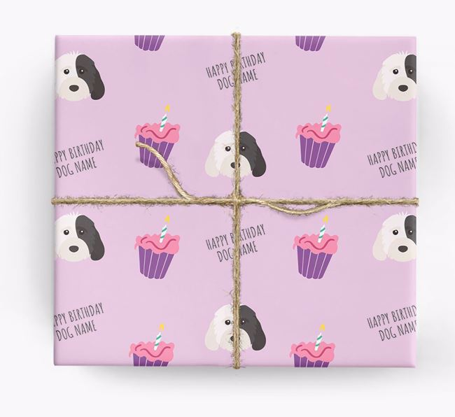 Personalised 'Happy Birthday' Cupcake Wrapping Paper with Cockapoo Icons