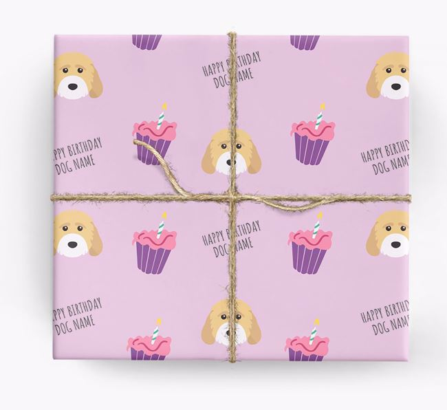 Personalized 'Happy Birthday' Cupcake Wrapping Paper with Cockapoo Icons