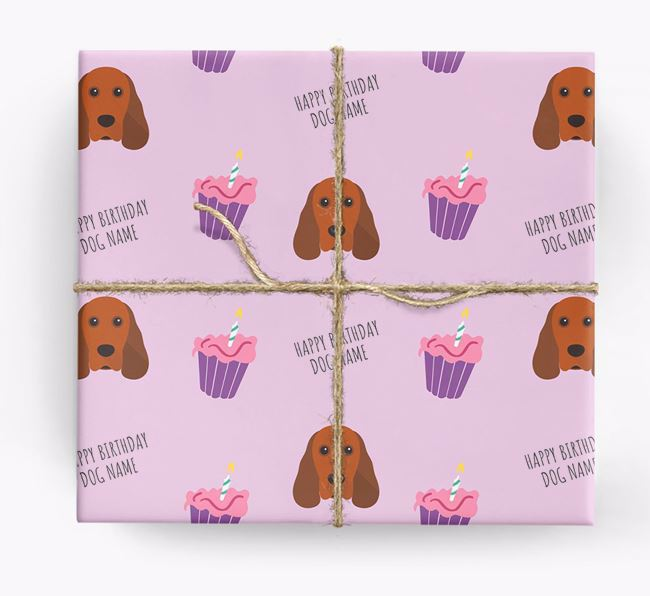 Personalized 'Happy Birthday' Cupcake Wrapping Paper with Cocker Spaniel Icons