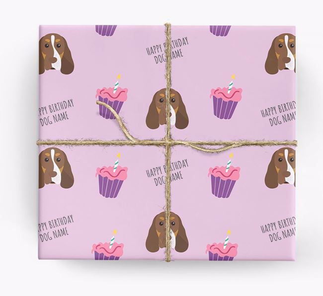 Personalised 'Happy Birthday' Cupcake Wrapping Paper with Cocker Spaniel Icons