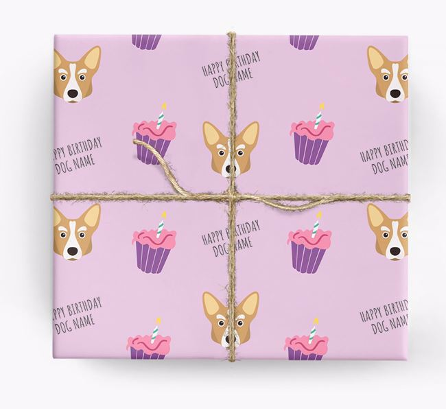 Personalised 'Happy Birthday' Cupcake Wrapping Paper with Corgi Icons