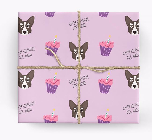 Personalized 'Happy Birthday' Cupcake Wrapping Paper with Corgi Icons