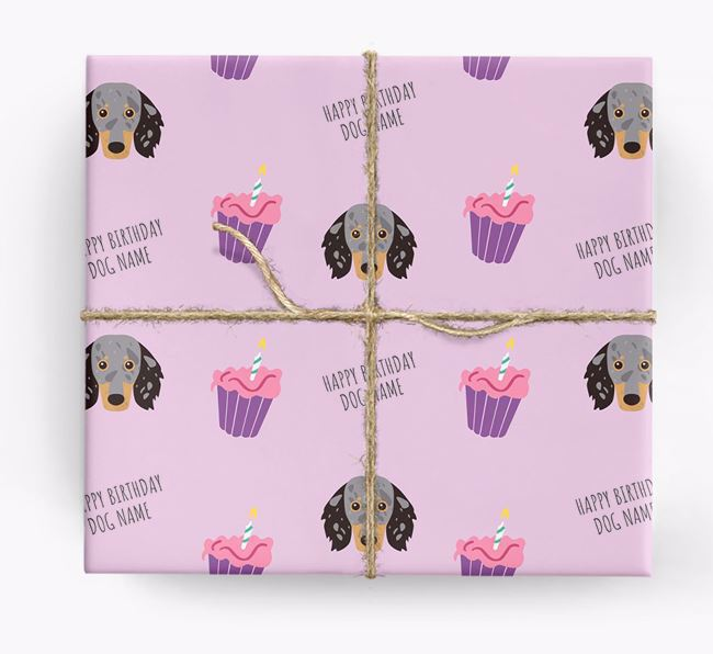 Personalised 'Happy Birthday' Cupcake Wrapping Paper with Dachshund Icons