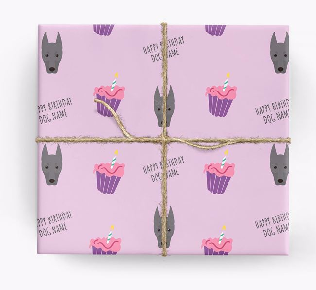 Personalized 'Happy Birthday' Cupcake Wrapping Paper with Dobermann Icons