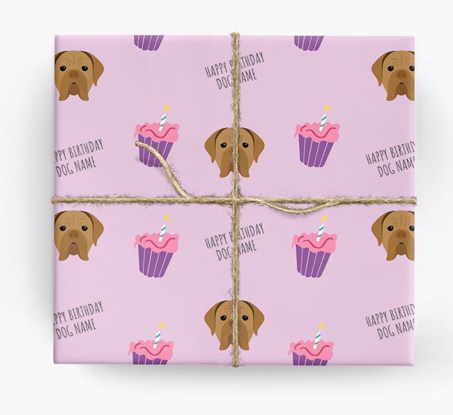 Personalized 'Happy Birthday' Cupcake Wrapping Paper with Dogue de Bordeaux Icons