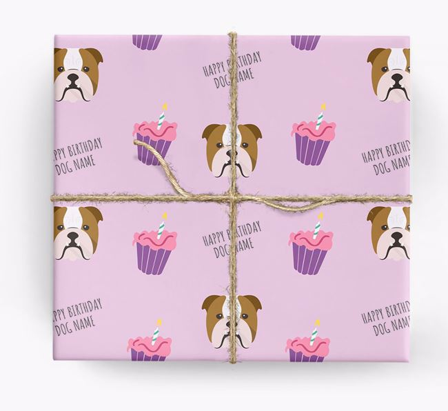 Personalised 'Happy Birthday' Cupcake Wrapping Paper with English Bulldog Icons