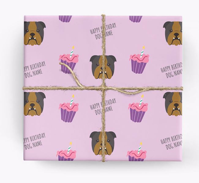 Personalized 'Happy Birthday' Cupcake Wrapping Paper with English Bulldog Icons