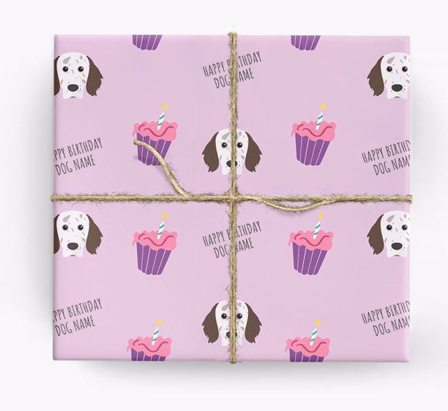 Personalized 'Happy Birthday' Cupcake Wrapping Paper with English Setter Icons