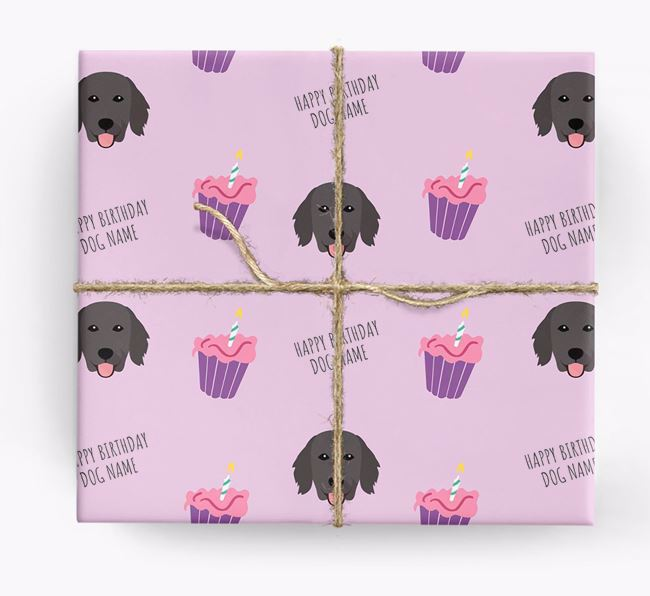 Personalized 'Happy Birthday' Cupcake Wrapping Paper with Flat-Coated Retriever Icons