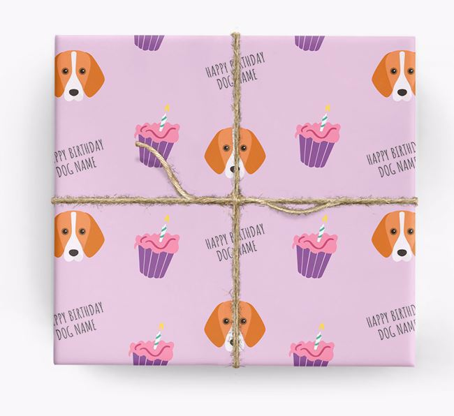Personalised 'Happy Birthday' Cupcake Wrapping Paper with Foxhound Icons