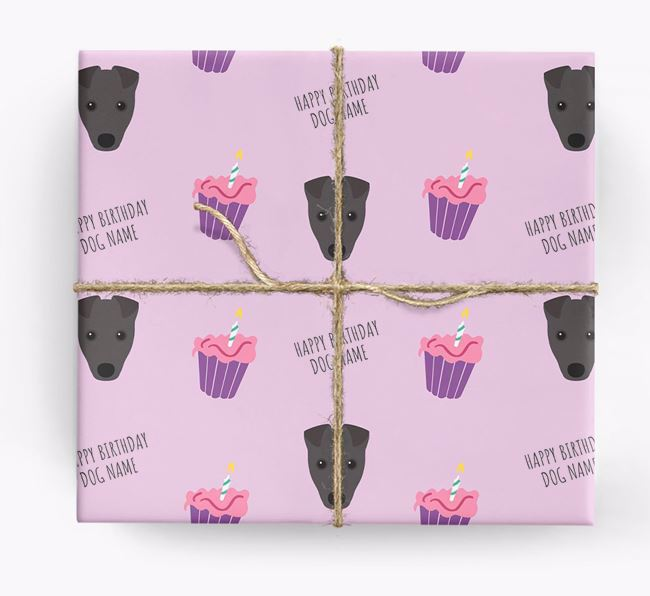 Personalized 'Happy Birthday' Cupcake Wrapping Paper with Fox Terrier Icons