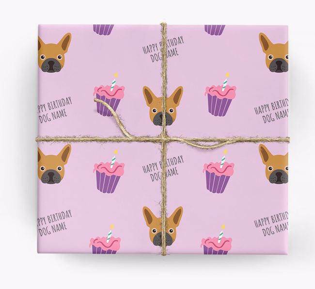 Personalised 'Happy Birthday' Cupcake Wrapping Paper with French Bulldog Icons