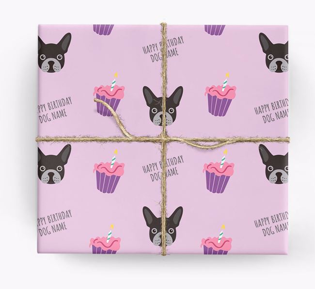 Personalized 'Happy Birthday' Cupcake Wrapping Paper with French Bulldog Icons
