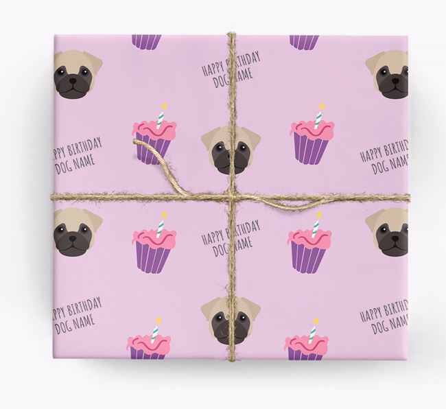 Personalized 'Happy Birthday' Cupcake Wrapping Paper with Frug Icons