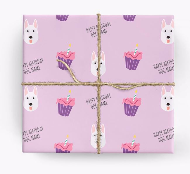 Personalised 'Happy Birthday' Cupcake Wrapping Paper with German Shepherd Icons