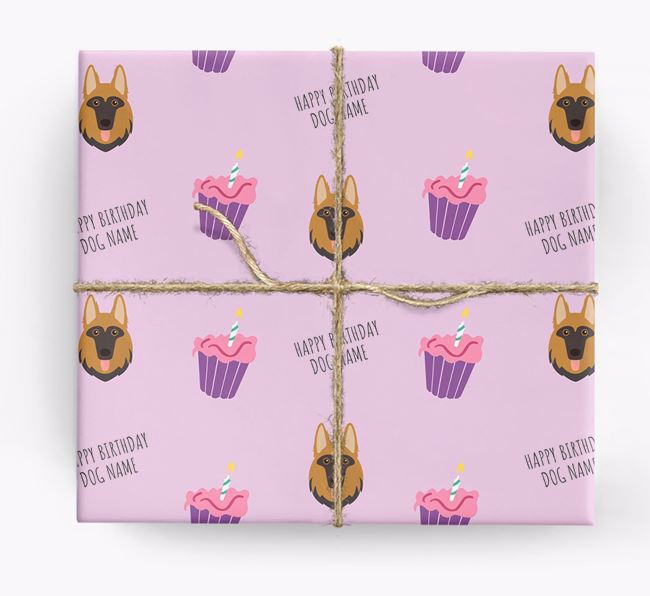 Personalized 'Happy Birthday' Cupcake Wrapping Paper with German Shepherd Icons
